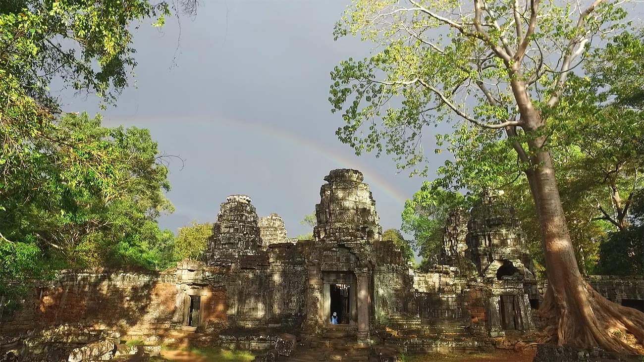 Still of Stock video footage of temple Banteay Kdei with rainbow at Angkor ancient temple complex, Cambodia